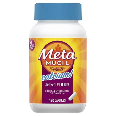 Metamucil Fiber with Calcium, 3-in-1 Psyllium Capsule Fiber Supplement with Calcium for Bone Health, 120 ct