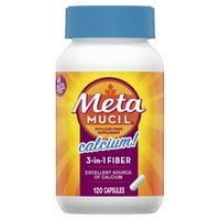 Metamucil Fiber with Calcium, 3-in-1 Psyllium Capsule Fiber Supplement with Calcium for Bone Health, 120 ct Capsules