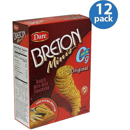 Dare Breton Minis Original Wheat Crackers, 8 oz, (Pack of 12)