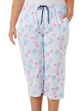 Coral Bay Plus Seashell Print Capri Pajama Pants