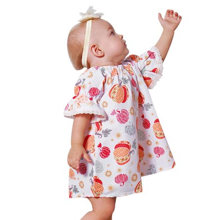 Mosunx Toddler Infant Baby Girls Pumpkin Print Dresses Halloween Costume Outfits