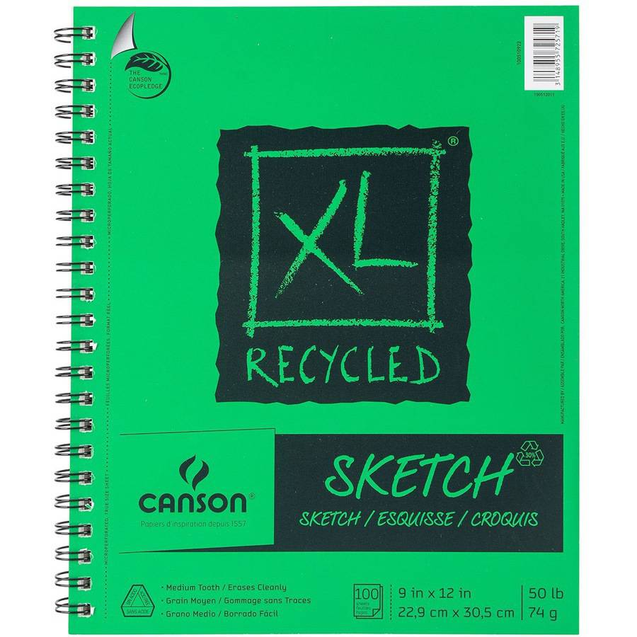 "Canson XL Recycled Side Spiral Sketch Paper Pad, 9"" x 12"", 100 Sheets"