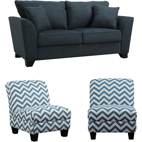 Geneva Microfiber Sofa with Set of 2 Gina Zig Zag Armless Accent Chairs