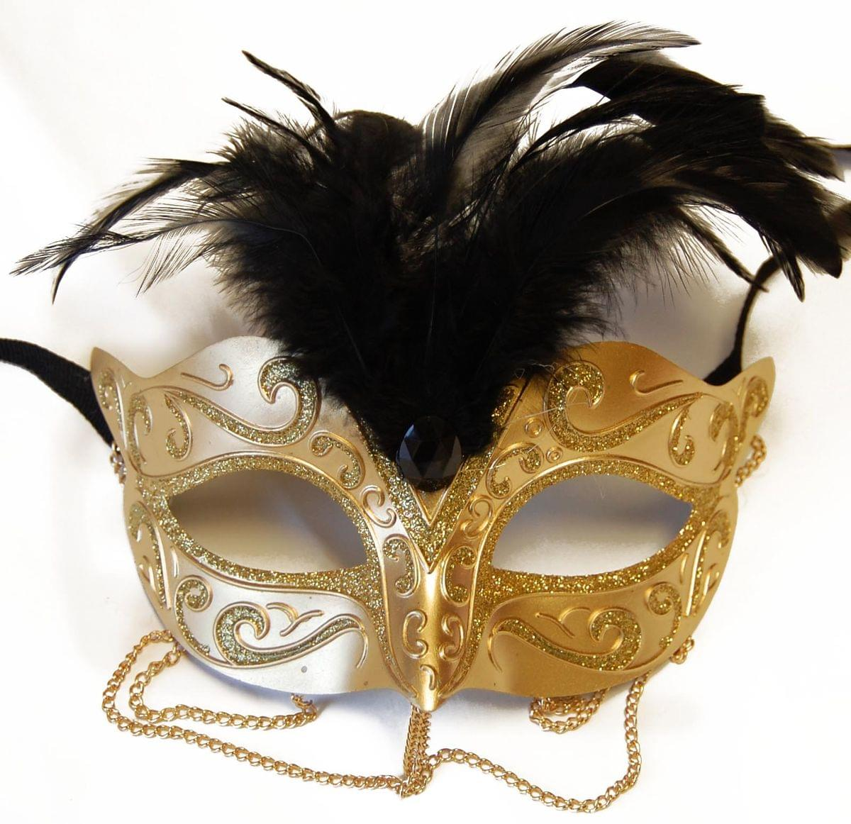 Tamire Costume Mask With Gold Chain: Gold/Gold