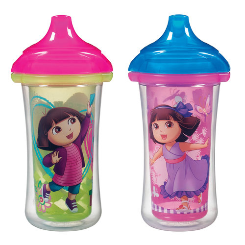 Munchkin Dora the Explorer Click Lock 9 Oz Insulated Sippy Cup, BPA-Free, 2 count (Design May Vary)