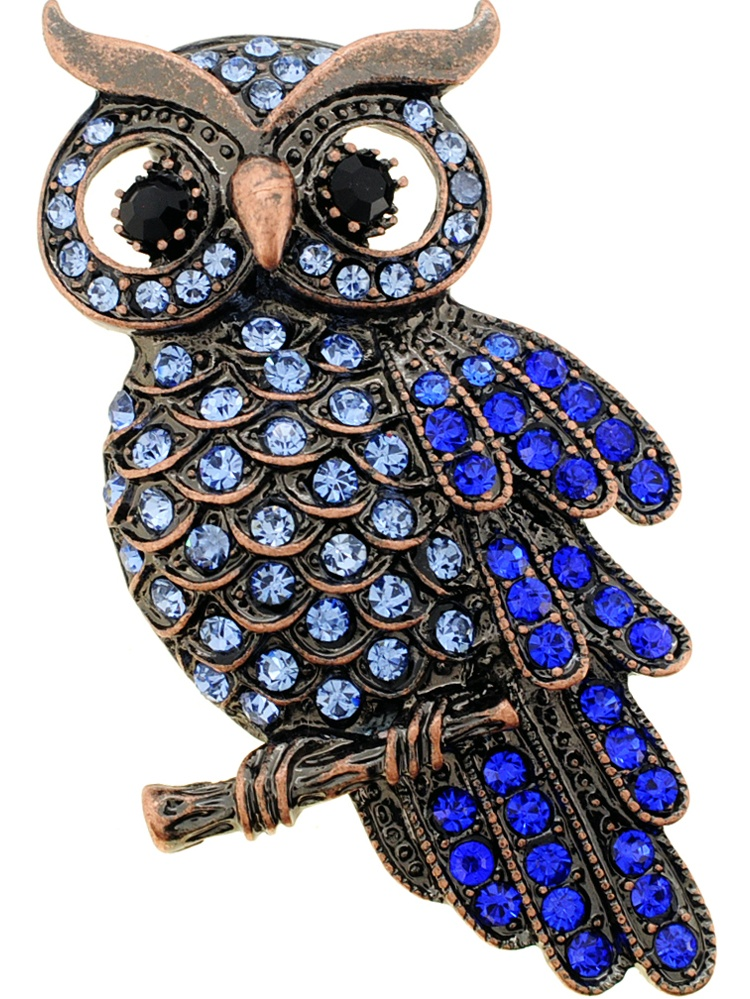 Vintage Style Sapphire Blue Owl Crystal Bird Pin Brooch by