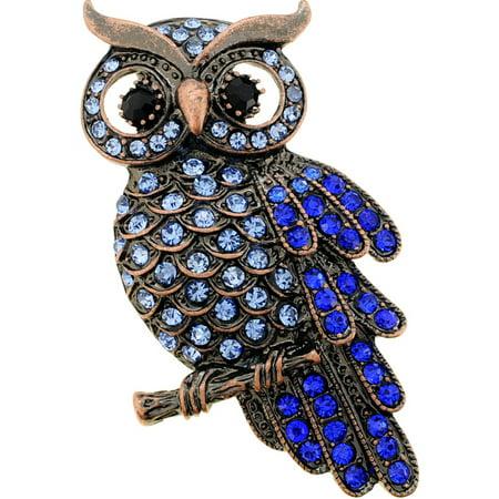 Vintage Style Sapphire Blue Owl Crystal Bird Pin