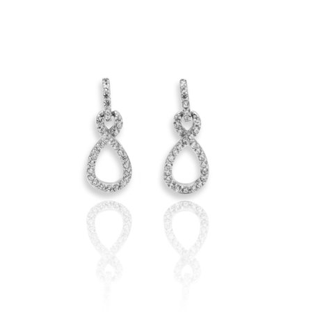 925 Sterling Silver CZ Crystal Figure 8 Infinity Drop Women Dangle Stud Earring 925 Sterling Silver Figure
