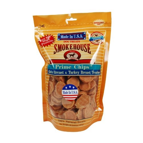 SmokeHouse Prime Chips Chicken Breast & Turkey Breast Tenders Dog Treats, 16 Oz by Smokehouse Pet Products