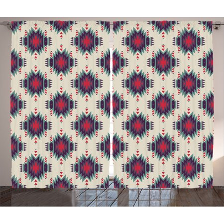 Native American Decor Curtains 2 Panels Set Colorful Ethnic Indian Mystic Folk Motif With Aztec
