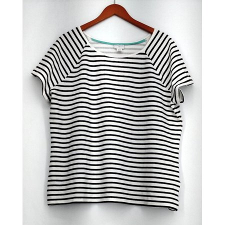 Jaclyn Smith Plus Size Top XXL Striped Short Sleeve Textured White Womens ()