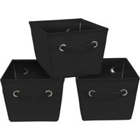 Mainstays Medium Canvas Bins 3 Pack-Rich Black