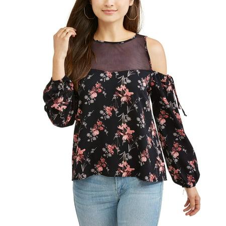 d75bd257c2414 Self Esteem - Juniors  Printed Floral Lace Yoke Cold Shoulder ...