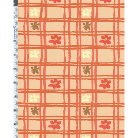 Peach Nel Whatmore Eden Picnic Check Print Cotton, Fabric Sold By the Yard