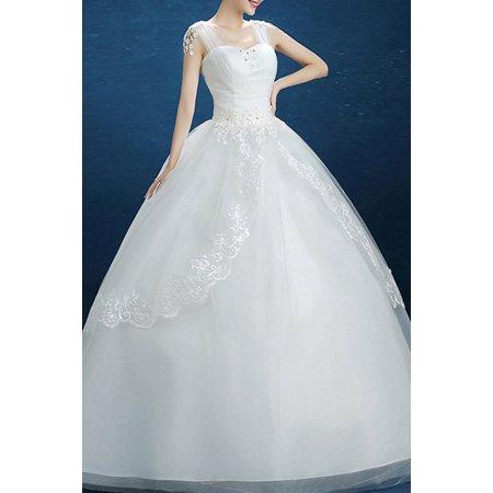 0029099e4992 Unomatch - Women Square Neck Lace Decorated Wedding Dress - Walmart.com