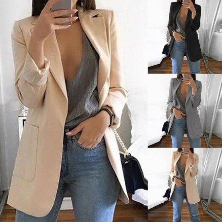 The Noble Collection Women Ladies Long Sleeve Slim Blazer Suit Coat Workout Jacket Casual (Suit Sleeve)