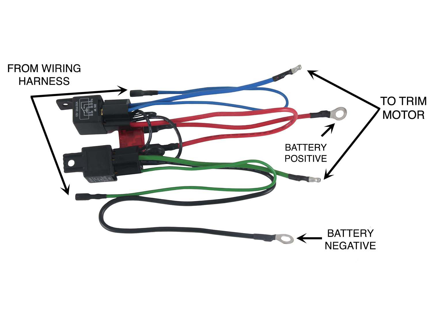 NEW WIRING HARNESS CONVERT 3 WIRE TILT TRIM MOTOR TO 2 WIRE 30 AMP FUSE 2  RELAYS - Walmart.com