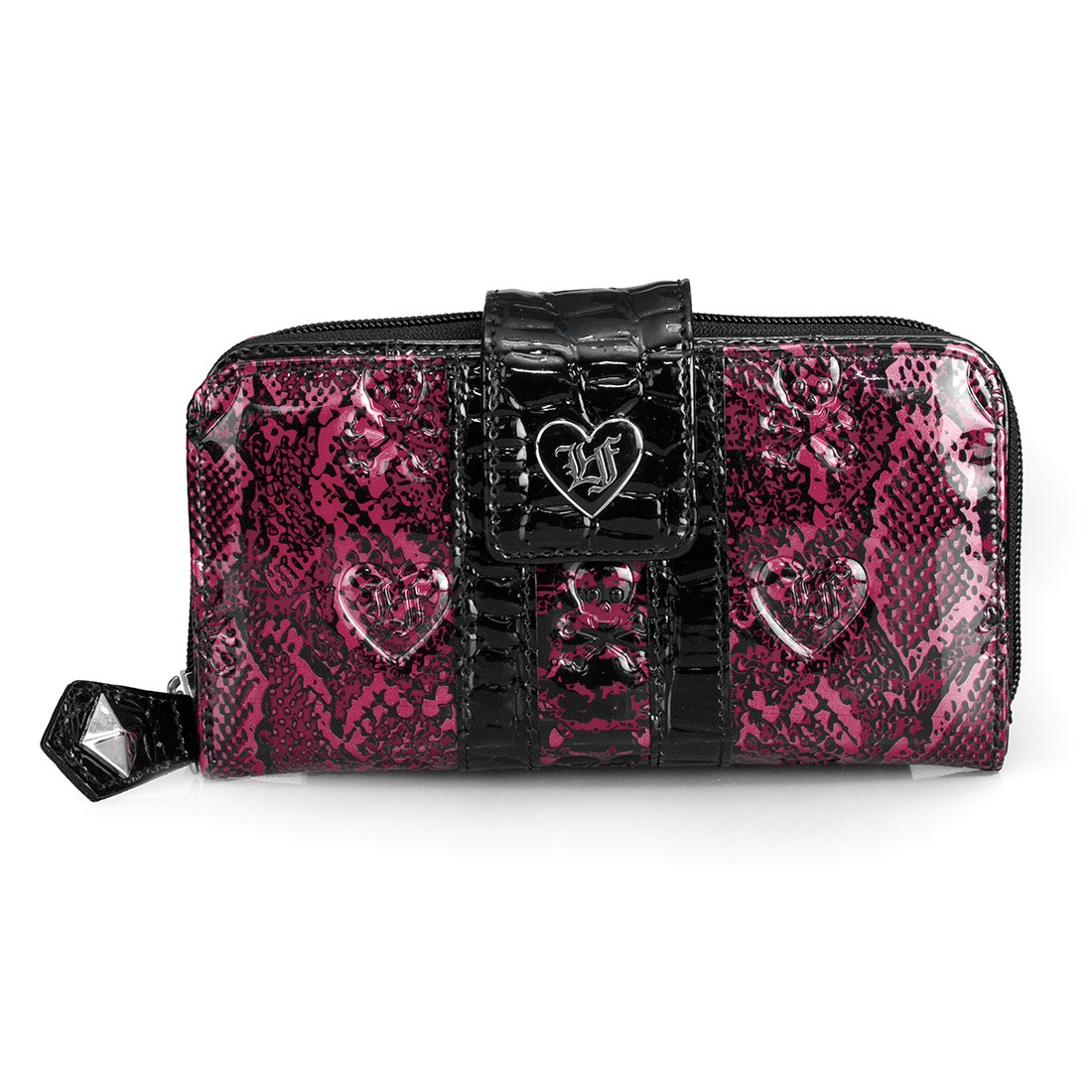 Loungefly Snake Skin Wallet Embossed Patent Clutch Shiny Black Pink