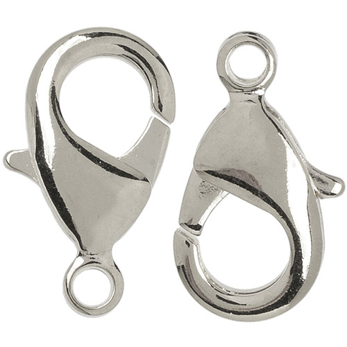 Plated Silver Metal Findings Lobster Claw, 15mm, 4-Pack