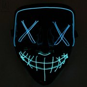 "GustaveDesign Halloween Scary Light Mask 4 Modes 2 Colors Cosplay Led Costume Mask EL Wire Light up for Festival Party Costume Christmas ""Blue+Ice Blue"""