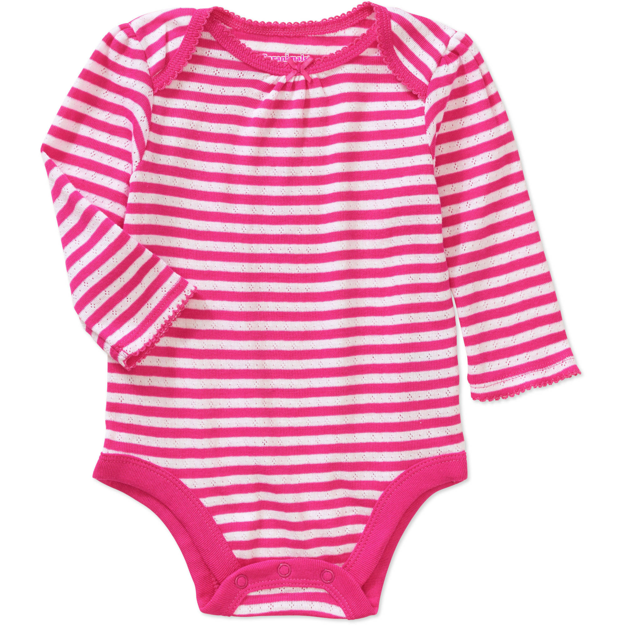Garanimals Baby Girl Long Sleeve Striped Pointelle Bodysuit