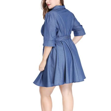 Women Plus Size 1/2 Sleeves Belted Above Knee Denim Shirt Dress Blue ...
