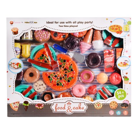 Kids Plastic Play Food Set Pretend Play Food and Drink Toys with Pizza Tea Party Playset (54 Pieces) ()