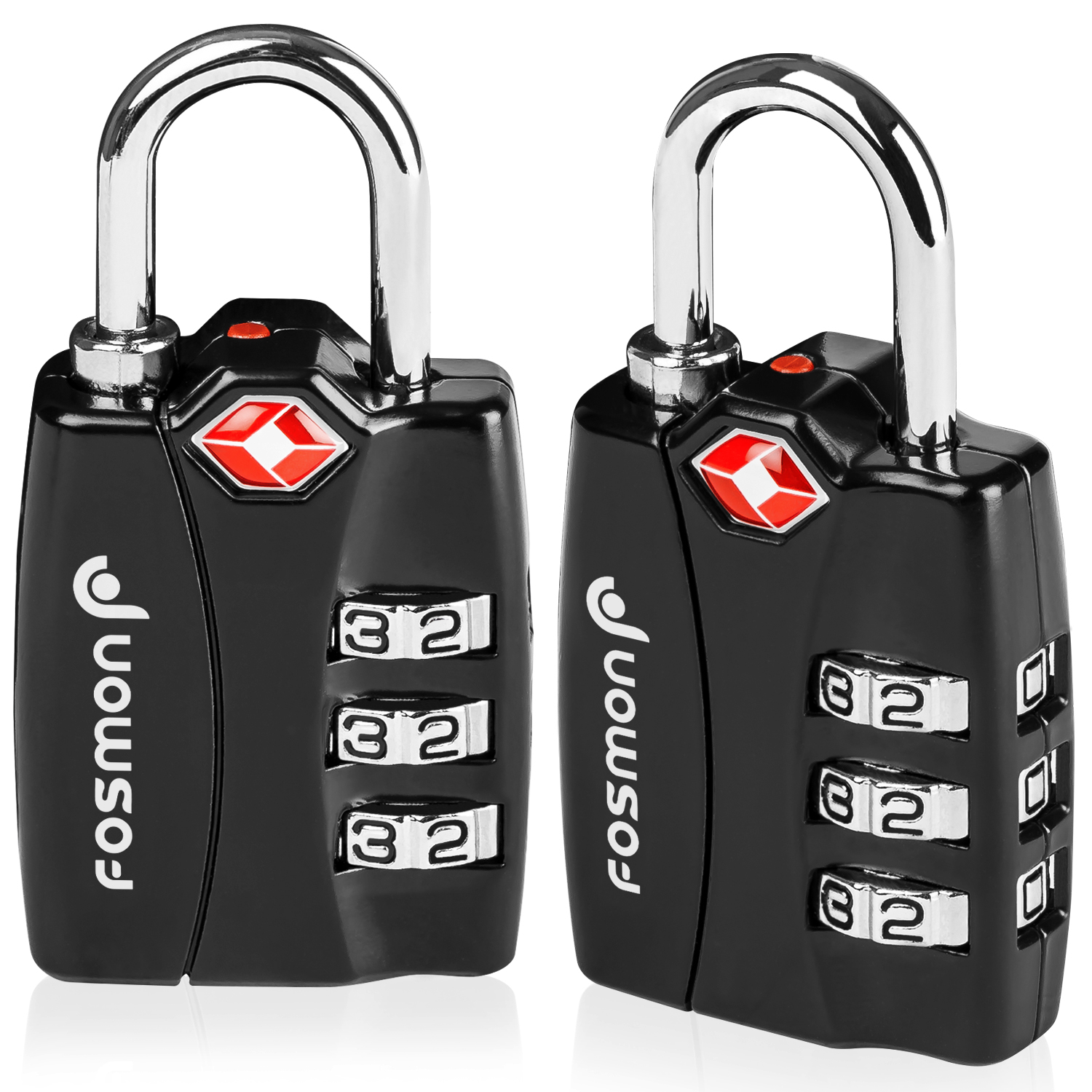 TSA Approved Luggage Locks, Fosmon (2 Pack) Open Alert Indicator 3 Digit Combination Padlock Codes with Alloy Body