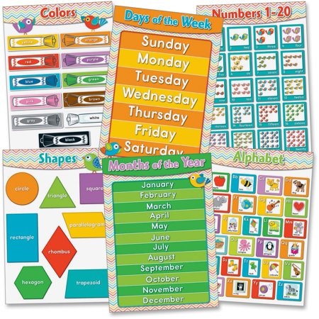 Carson-Dellosa, CDP110256, Chevron Basic Skills Bulletin Board Set, 6 / Set 20 Bulletin Board Set