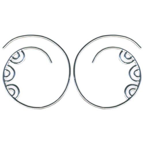 Sterling Silver Spiral Threader Hoop Earrings