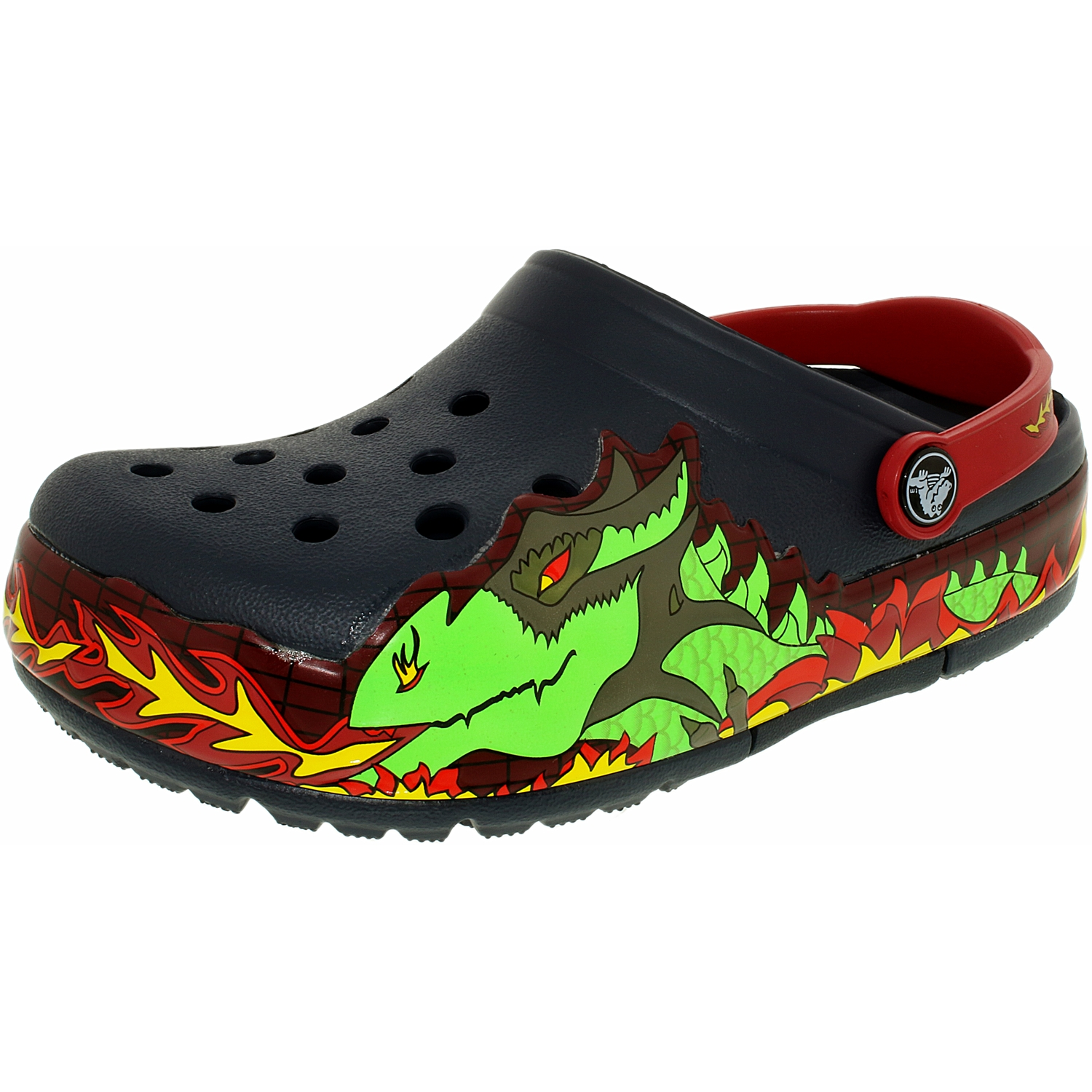 Crocs Boy's Kids Crocslights Fire Dragon Ankle-High Rubber Flat Shoe by Crocs