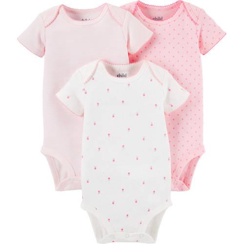 Child Of Mine by Carter's Newborn Baby Girl Short Sleeve Bodysuits, 3 - Pack