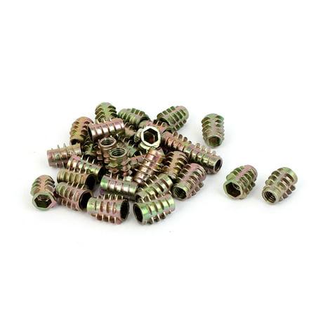 M6 x 15mm Alloy Hex Socket Screw in Thread Insert Nuts Bronze Tone 30 Pcs - image 1 of 2