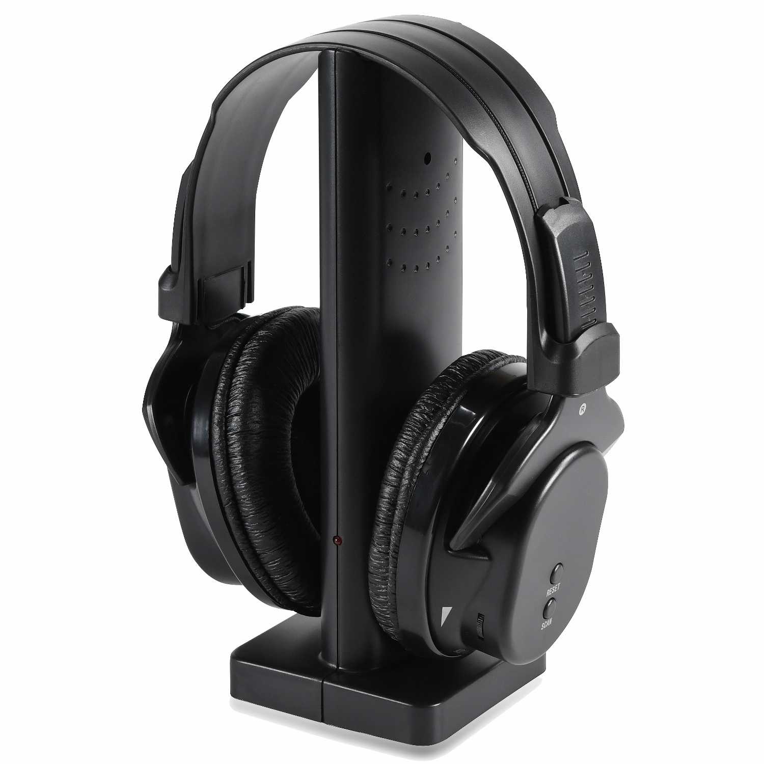 ONN Wireless TV On-Ear Headphones with Transmitter and Integrated Microphone, Black (Non-Retail Packaging)