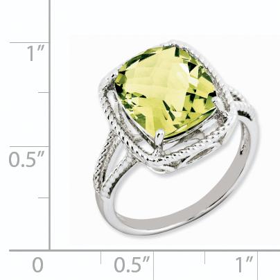 Sterling Silver Rhodium Checker-Cut Lemon Quartz Ring Size 7 - image 1 de 2