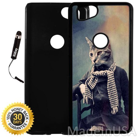 Custom Google Pixel 2 Case (Cat in Scarf Vintage Portrait) Plastic Black Cover Ultra Slim | Lightweight | Includes Stylus Pen by Innosub