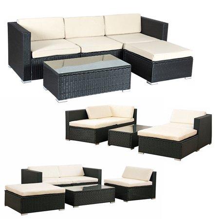 Costway 5 PCS Patio Furniture Set Rattan Wicker Table Shelf Garden ...