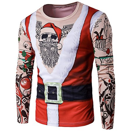 Crew Neck 3D Father Christmas Costume Tattoo Print T-Shirt