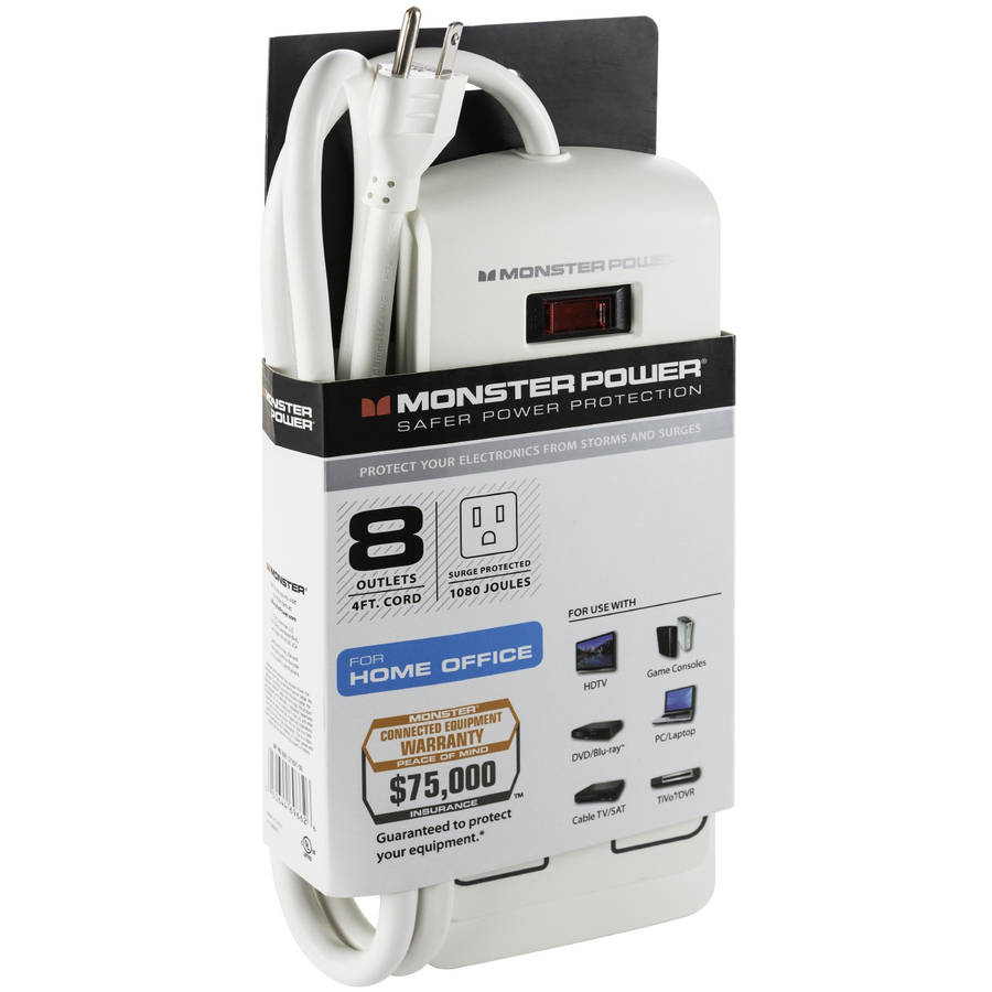 Monster Essentials 800 8-Outlet Surge Protector, White