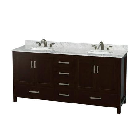 70 double sink bathroom vanities inch wyndham collection sheffield 72 inch double bathroom vanity in espresso white carrera marble countertop