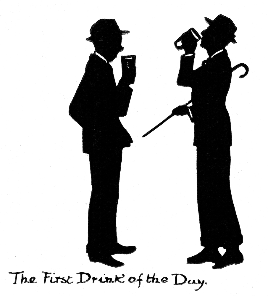 Silhouette Of Two Men Drinking Beer Poster Print By ®H L Oakley  Mary Evans