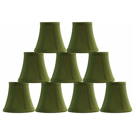 - Urbanest Olive Green Silk Bell Chandelier Lamp Shade, 3x5x4.5