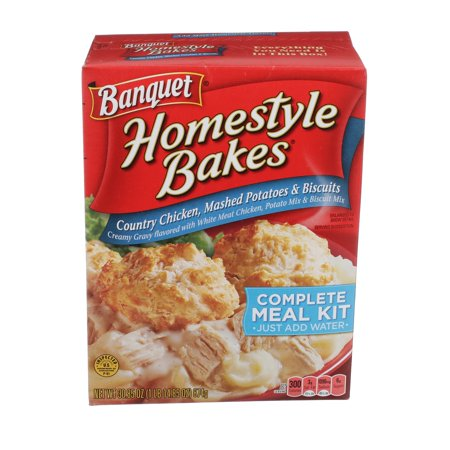 Banquet Homestyle Bakes Country Chicken, Mashed Potatoes, and Biscuits Meal Kit, 30.9