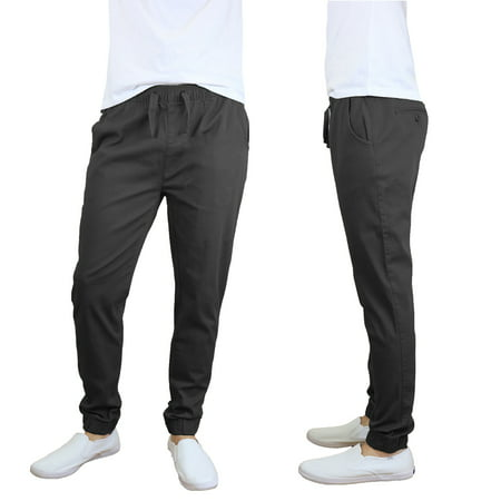 Mens Joggers Chino Pants Stretch Twill Slim Fit ()