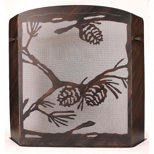 Coast Lamp Manufacturer 15-R28A-S Small Iron Pine Cone Scene Fireplace Screen Burnt Sienna by Coast Lamp Manufacturer