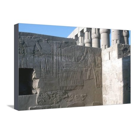 Relief of the Pharaoh Smiting His Enemies, Temple Sacred to Amun, Mut and Khons, Luxor, Egypt Stretched Canvas Print Wall Art By CM Dixon