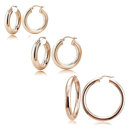 Round Loop Earrings - Set of 3 Rose Gold Tone over Sterling Silver 5mm Polished Round Hoop Earrings, 20mm, 30mm, 35mm