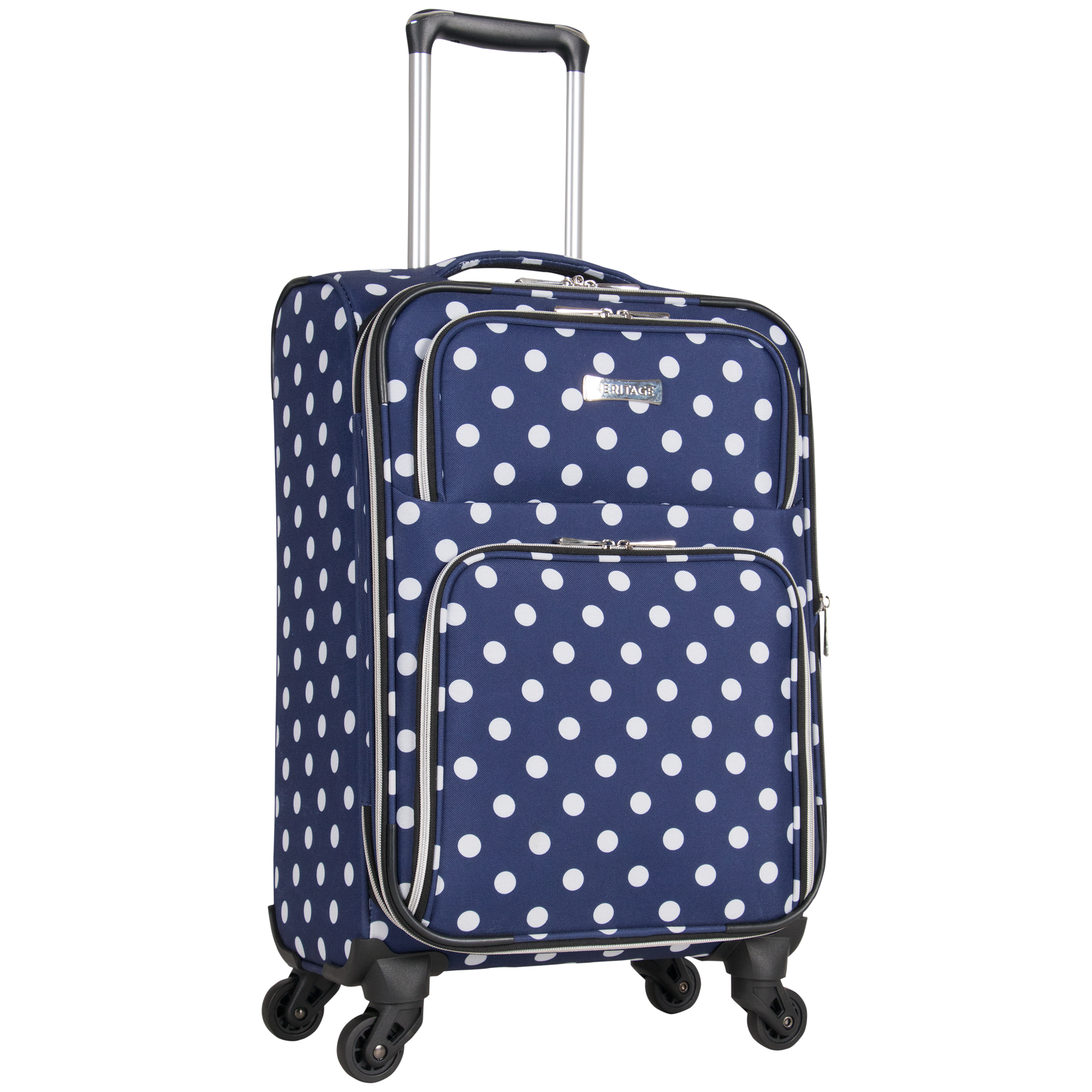 Heritage 20-Inch Lightweight Polka Dot Printed Expandable 4-Wheel Upright Carry-On Luggage - Navy / White Polka Dot