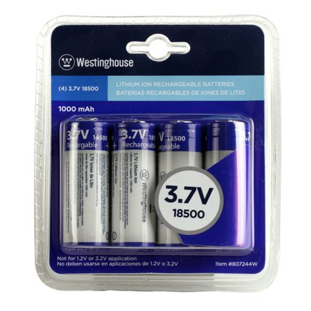 Westinghouse 4-Pack, 18500 3.7V 1000mAh Lithium-Ion Rechargeable Battery Set