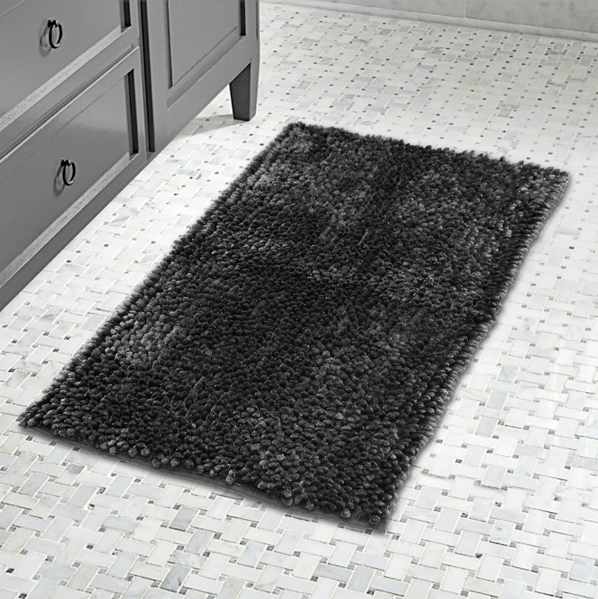 Lurex Noodle Bath Rug- Charcoal